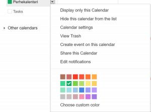Valitse perhekalenterille oma väri