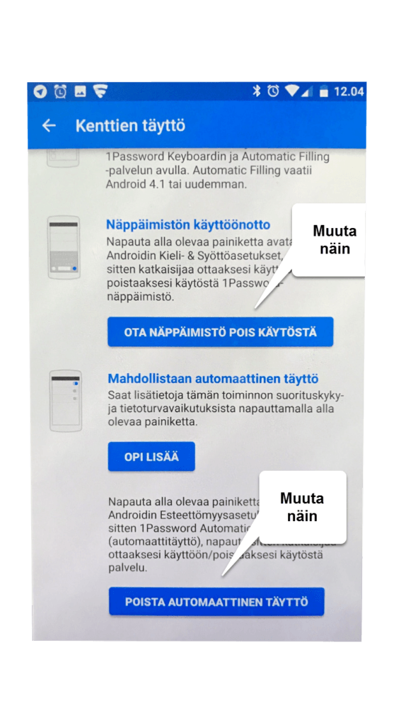 Asetukset Android -laitteelle