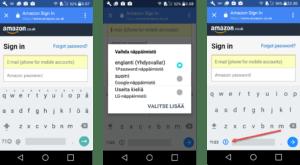 Palveluun kirjautuminen Android laitteella