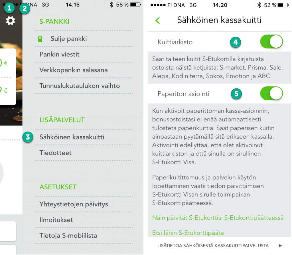 S-mobiili Asetukset-Sähköinen kuitti