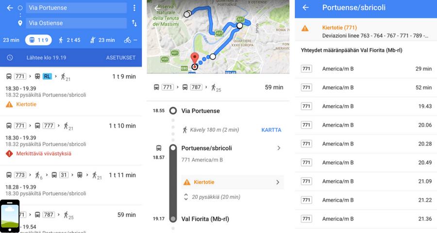 Google Maps-liiku julkisilla kulkuvälineillä
