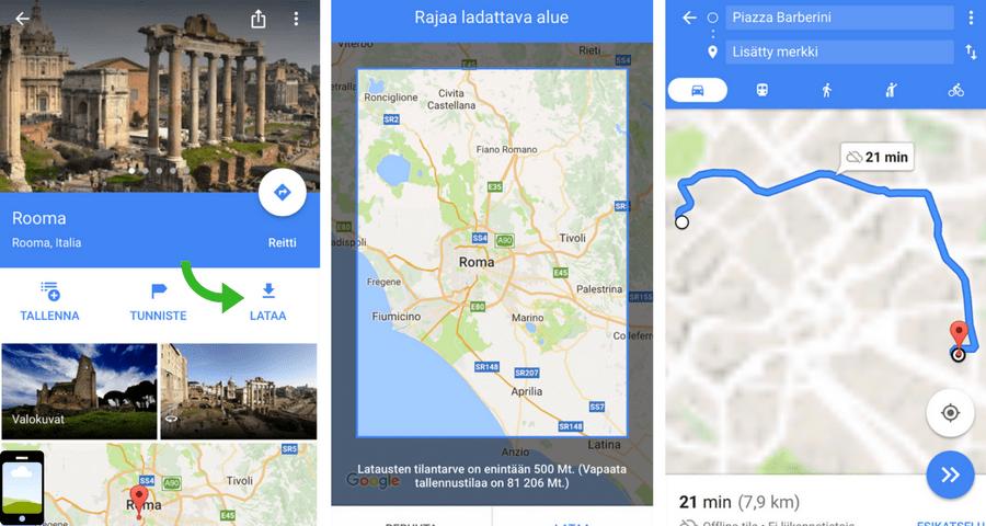 Google Maps-lataa off-line -kartta