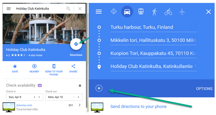Google Maps-suunnittele-reitti