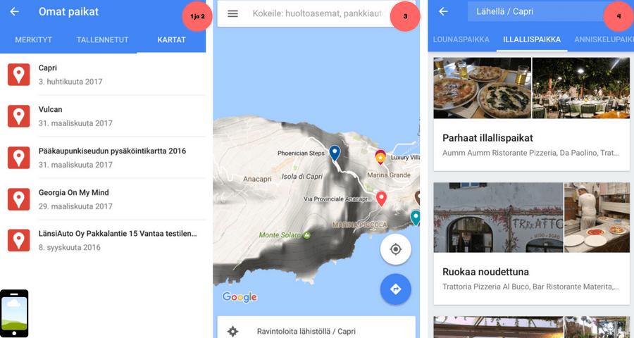 Google Maps etsi ravintoloita kartalle