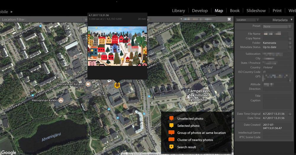 Merkitse kuvat kartalle, niin saat sijainnit avainsanoihin