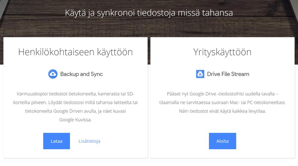 Asenna Google varmistus- ja synkronointipalvelu