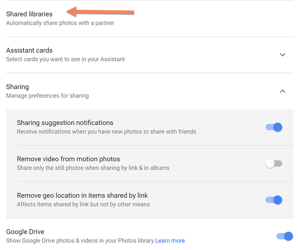 Google Photos Share Libraries