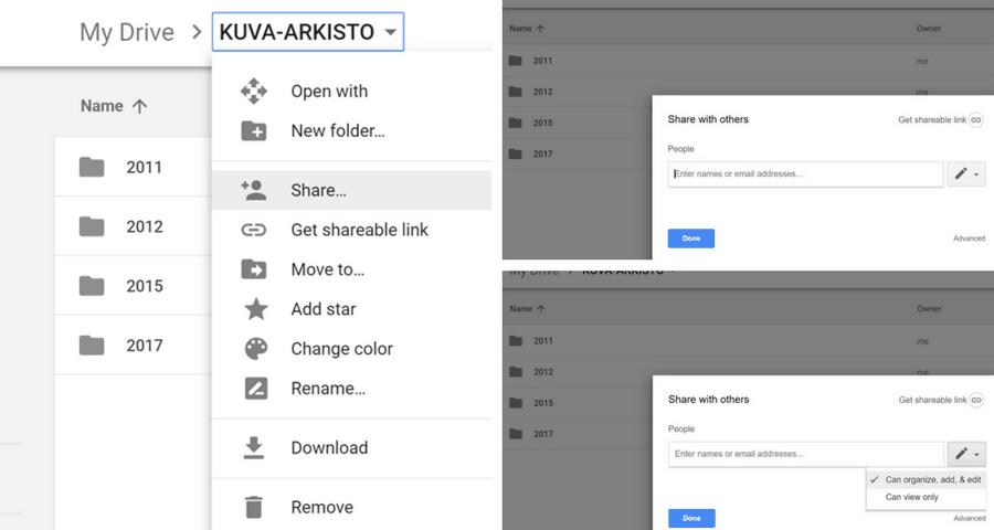 Jaa Google Drive Kuva-arkisto