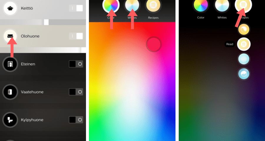 Klikkaa huoneen tai lampun nimessä olevaa kuvaketta ja säädä värejä