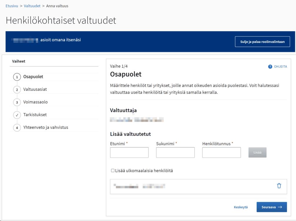 Suomi.fi sähköinen valtakirja